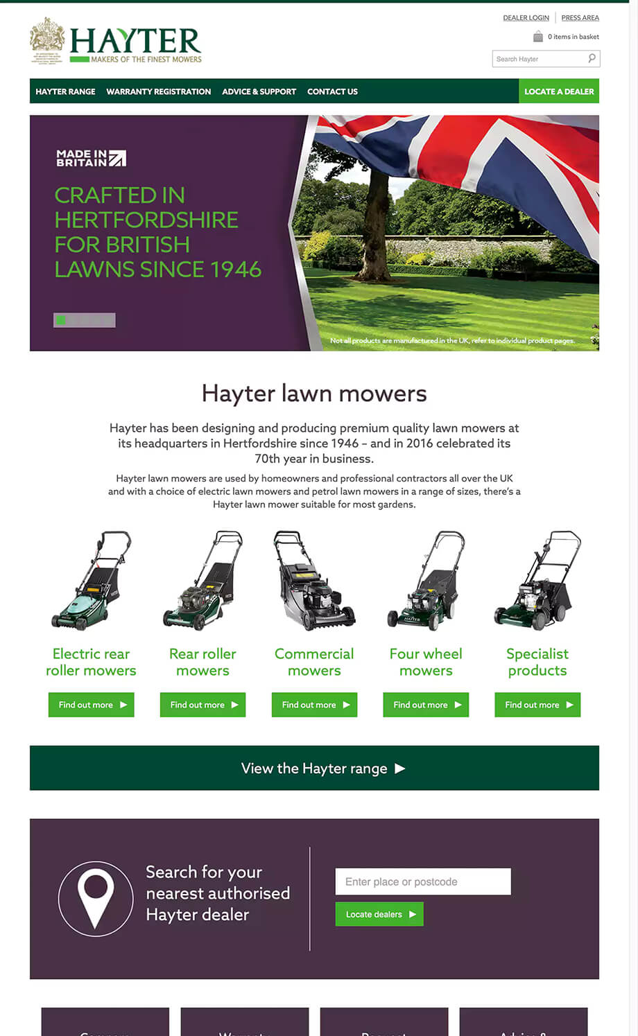 Hayter Mowers illustration 34, part of our work for Websites