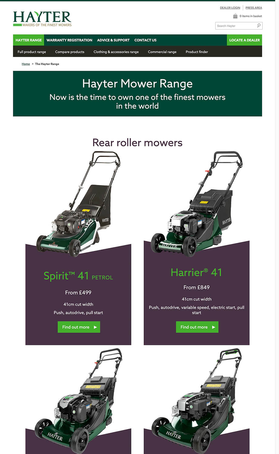 Hayter Mowers illustration 35, part of our work for Websites