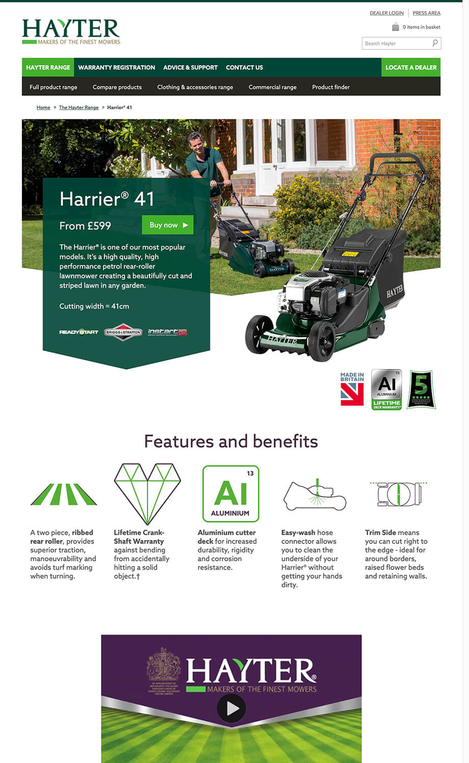 Hayter Mowers illustration 36, part of our work for Websites